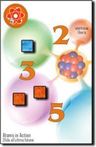 Un'immagine tratta dal regolamento in cui si vede la scheda di un atomo che ha appena catturato un elettrone (il cubetto azzurro) Il gioco