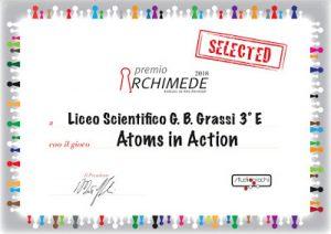 L'attestato che testimonia la selezione per la fase finale del Premio Archimede per il gioco Atoms in Action