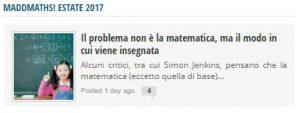 Il problema non è la matematica ...