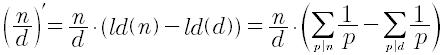 Derivata aritmetica di un numero razionale