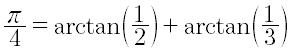 Metà di un angolo retto come somma dell'arco che ha per tangente 1/2 e 1/3