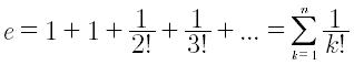 Approssimazione del numero di Eulero e ottenuto dallo sviluppo in serie di Taylor della funzione esponenziale